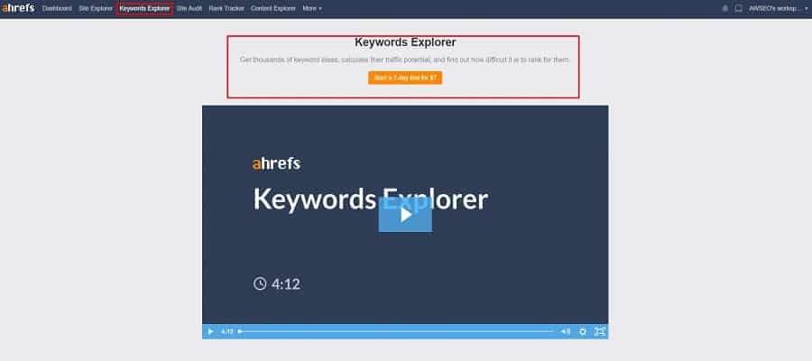 ahrefs miễn phí không sử dụng được keyword explorer