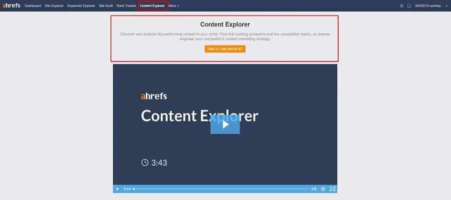 ahrefs miễn phí không sử dụng được Content Explorer