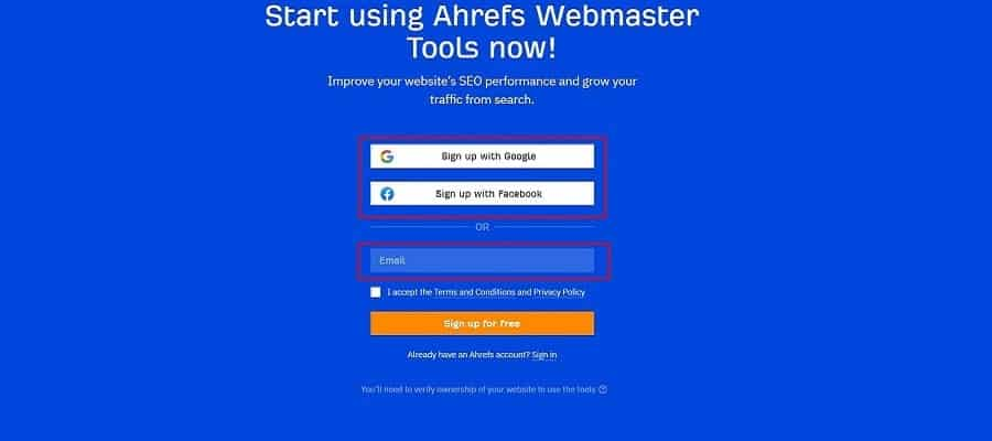 sign up for free ahrefs account