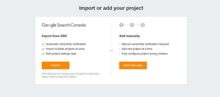 import project vào ahrefs free